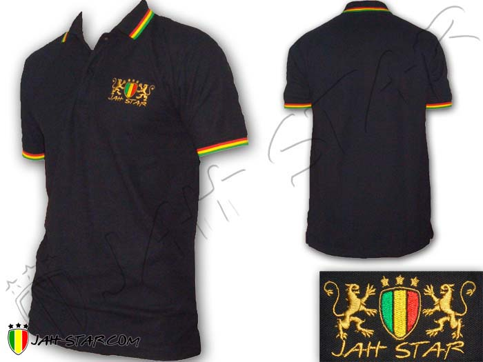 Polo Reggae Rasta Roots Bob Marley Rastafari Lion Jah Star Logo Embroidered